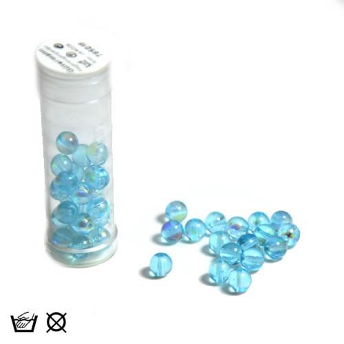 Regenbogenperle, 6mm, Aqua AB, ca. 40 Stück