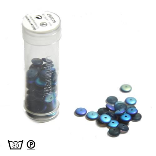 Scheibenperle, 6mm, NachtblauAB, ca. 80 Stück