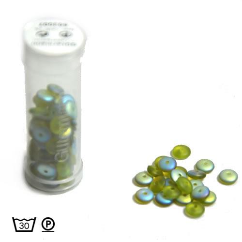 Scheibenperle, 6mm, Grün AB, ca. 80 Stück