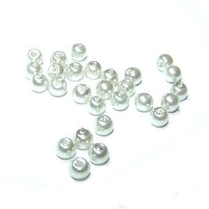 Wachs-Glasperle, Pearl Renaissance, Hellgrau, Glanz, 4mm, 100 St