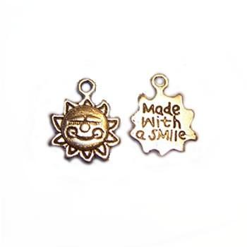 Metallanhänger, Sonne, Made with a Smile, Silberfarben, 1 Stück