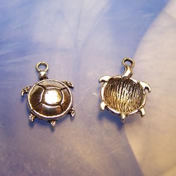Metallanhänger, Schildkröte, Rund, Antik Silberfarben, 1 Stück