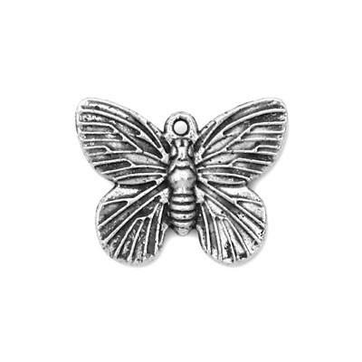 Metallanhänger, Schmetterling, Altsilberfarben, 1 Stück