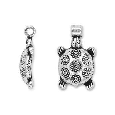 Metallanhänger, Schildkröte, Blumen, Silberfarben, 1 Stück