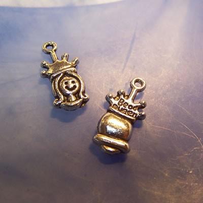 Metallanhänger, Prinzessin, Bead Queen, Silberfarben, 1 Stück