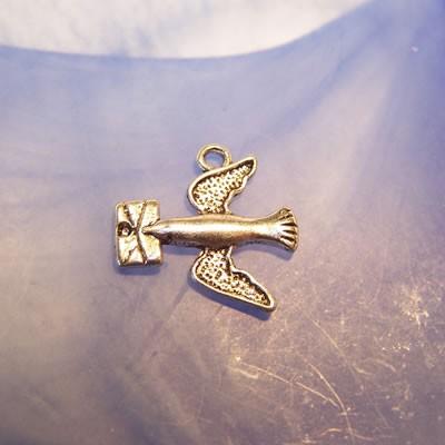 Metallanhänger, Brieftaube, Silberfarben, 1 Stück