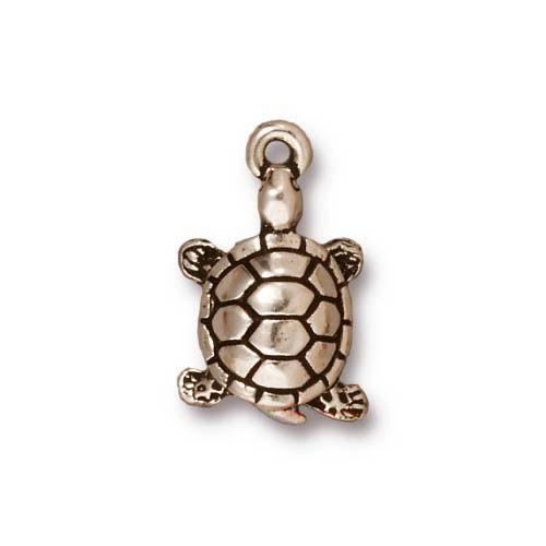 Metallanhänger, Schildkröte, Antik Versilbert, 1 Stück