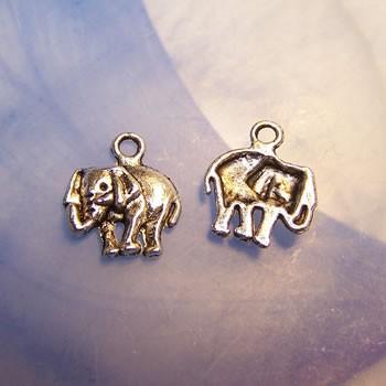 Metallanhänger, Elefant, Silberfarben, 1 Stück