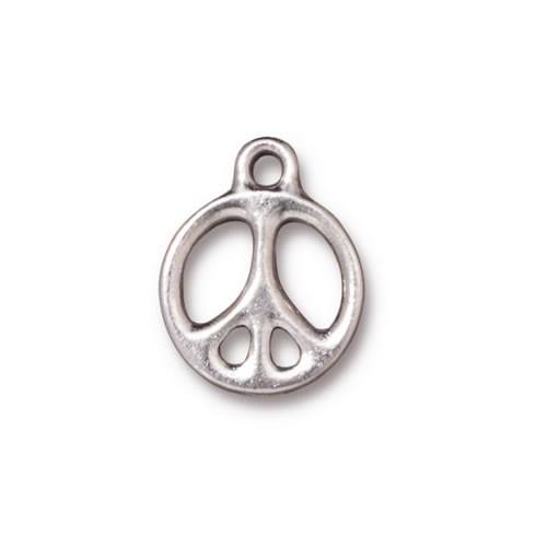 Metallanhänger, Peace, Rhodiniert, 1 Stück