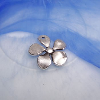 Metallanhänger, Blume, Groß, Silberfarben, 1 Stück