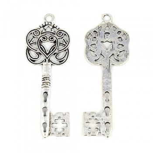 Metallanhänger, Schlüssel, Verzierungen, Silberfarben, 1 Stück