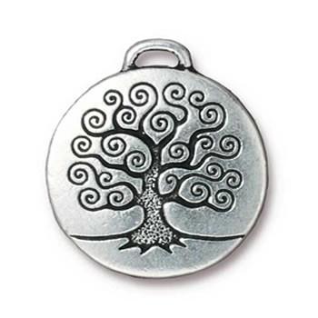 Metallanhänger, Lebensbaum, Groß, Antik Versilbert, 1 Stück