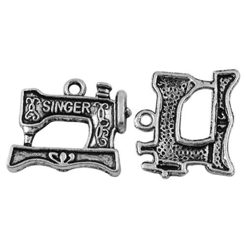 Metallanhänger, Nähmaschine, Silberfarben, 1 Stück