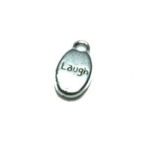 Metallanhänger, Laugh, Silberfarben, 1 Stück