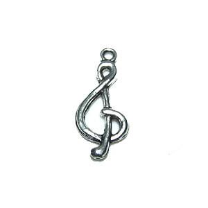 Metallanhänger, Notenschlüssel, Silberfarben, 1 Stück