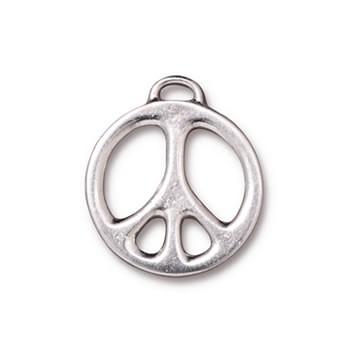 Metallanhänger, Peace, Groß, Rhodiniert, 1 Stück