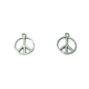 Metallanhänger, Peacezeichen simple, Silberfarben, 1 Stück