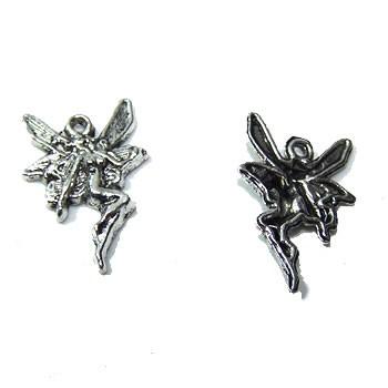 Metallanhänger, Fee, Silberfarben, 1 Stück