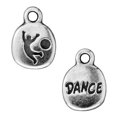 Metallanhänger, Dance, Antik versilbert, 1 Stück