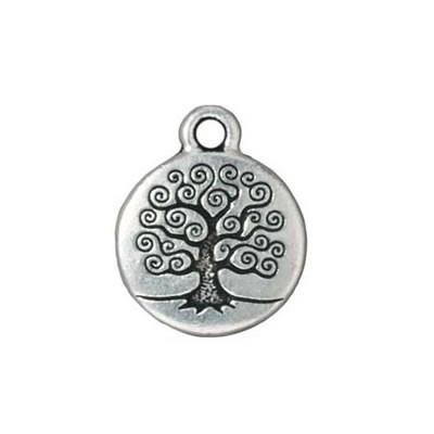 Metallanhänger, Lebensbaum klein, Antik Versilbert, 1 Stück
