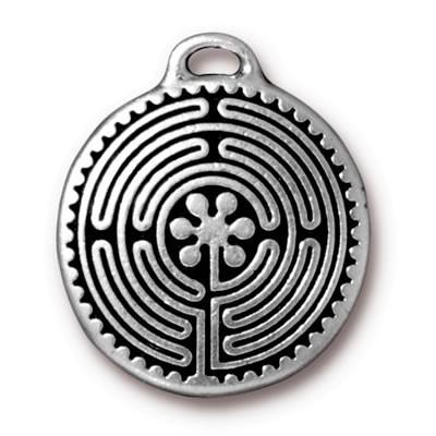 Metallanhänger, Labyrinth, Groß, Antik Versilbert, 1 Stück