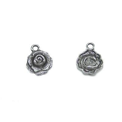 Metallanhänger, Rose, Silberfarben, 1 Stück