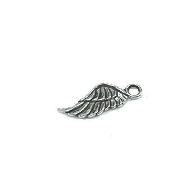 Metallanhänger, Flügel, geschwungen, Silberfarben, 1 Stück