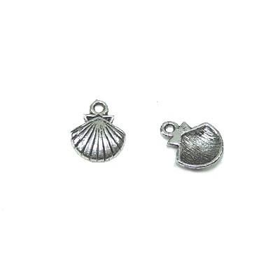 Metallanhänger, Jakobsmuschel, Silberfarben, 1 Stück