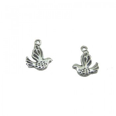 Metalanhänger, Vögelchen, Silberfarben, 1 Stück