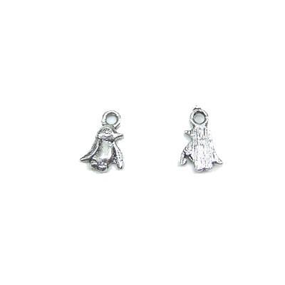 Metallanhänger, Pinguin, Silberfarben, 1 Stück