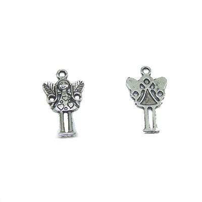 Metallanhänger, Engel mit Herzen, Klein, Silberfarben, 1 Stück