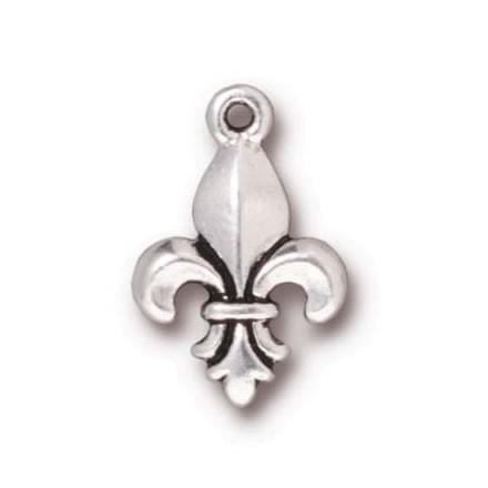 Metallanhänger, Fleur de Lis, Antik Versilbert, 1 Stück