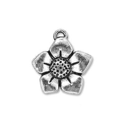 Metallanhänger, Sonnenblume, Silberfarben, 1 Stück