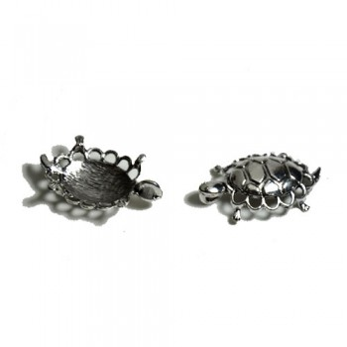 Metallanhänger, Schildkröte, Groß, Silberfarben, 1 Stück