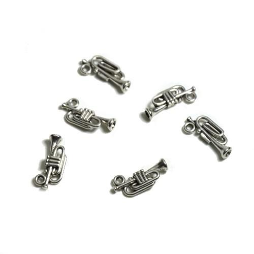 Metallanhänger, Trompete, Silberfarben, 1 Stück