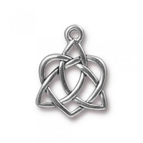 Metallanhänger, Keltisches Herz, Klein, Antik Versilbert, 1 Stück