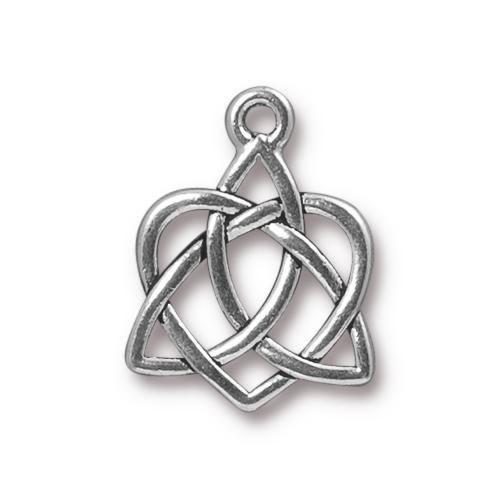 Metallanhänger, Keltisches Herz, Groß, Antik Versilbert, 1 Stück