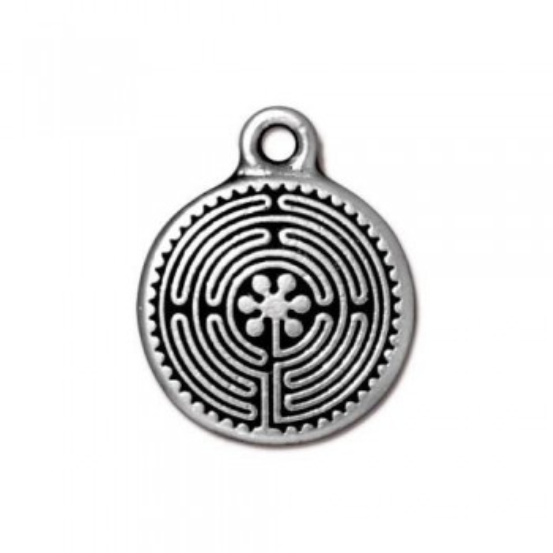 Metallanhänger, Labyrinth, Klein, Antik Versilbert, 1 Stück