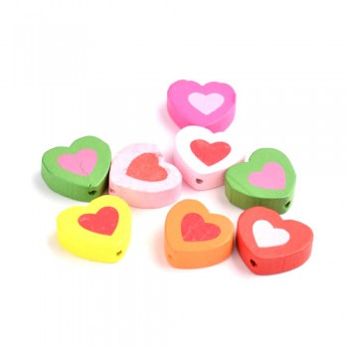 Holzperlen, Herz in Herz, 16mm, Farbenmix, 10 Stück