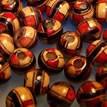 Holzperle, Rund, 7mm, rote und blaue Verzierungen