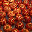 Holzperle, Rund, 7mm, rotes Zick-Zack