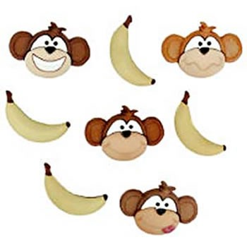 Motivknopf, Affen, 8 Stück