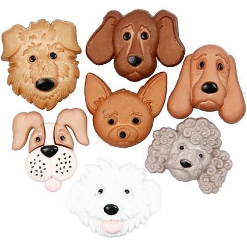 Motivknopf, Hunde, 7 Stück