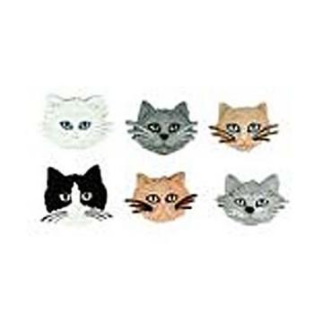 Motivknopf, Katzen, 6 Stück