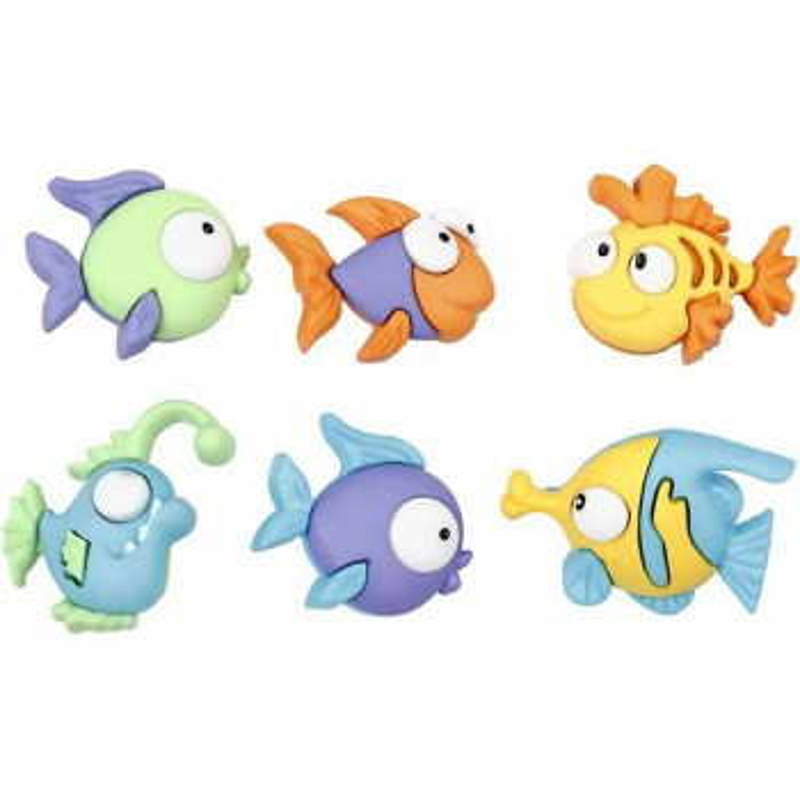 Motivknopf, Fische, 6 Stück