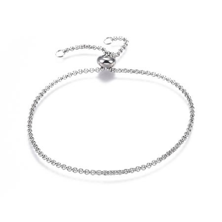 Armband, Rolo, 304 Edelstahl, 25cm, Sliderperle, 1 Stück