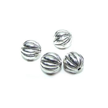 Perle, Kugel klein,Große Rillen, Kunststoff versilbert, 1 Stück