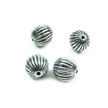 Perle, Kugel klein, Rillen, Kunststoff versilbert, 1 Stück