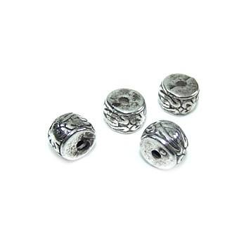 Perle, Walze klein, Schnörkel, Kunststoff versilbert, 1 Stück