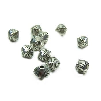 Perle, Bicon klein, Rillen, Kunststoff versilbert, 1 Stück